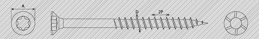 Viti per pannelli truciolari TSP TX 2 principi con alette svasanti