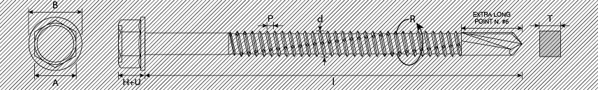Viti autoperforanti TE automaschianti finta rondella piana punta extra lunga n. 5