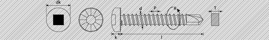 Viti autoperforanti testa cilindrica impronta quadra dentellata sottotesta