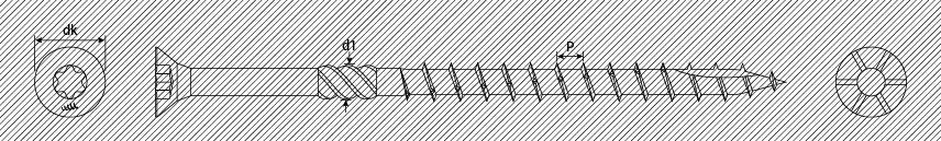 Шурупы из нержавеющей стали для деревянных конструкций, плоская потайная головка с насечками для раззенковки и ребрами, шлиц TX, тип 17