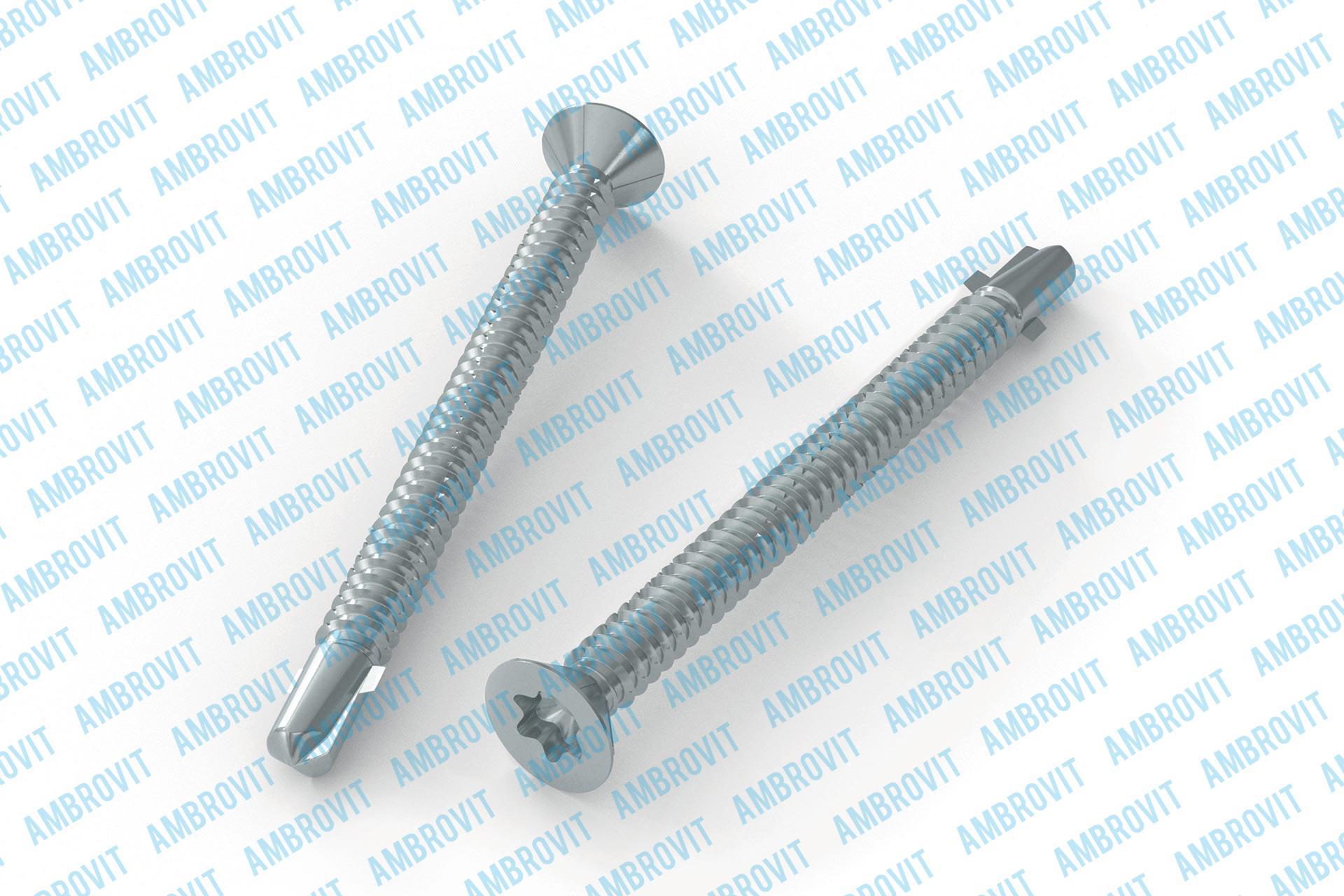 Self-drilling screws tx flat head w/ribs under head cutting thread and special wings